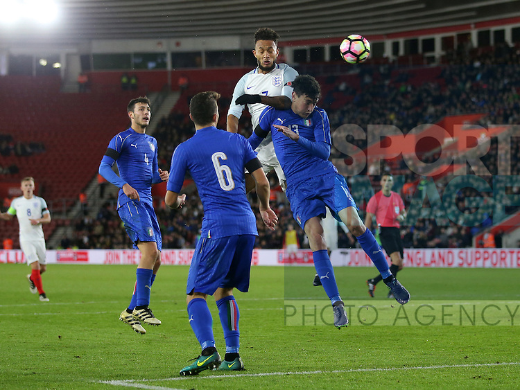 England's Lewis Baker fires in a header during the Under 21 International Friendly match at the St Mary's Stadium, Southampton. Picture date November 10th, 2016 Pic David Klein/Sportimage