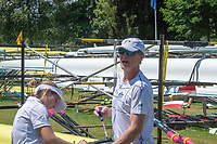 Lucerne, SWITZERLAND, 12th July 2018, Friday  FISA World Cup series, No.3, Lake Rotsee, Lucerne, Australian Coach, Nick GARRETT, rigging the boat with the Cox