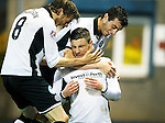 Greenock Morton v St Johnstone...27.10.15  League Cup Quarter Final, Cappielow...<br /> Michael O'Halloran celebrates his goal with Murray Davidson and Joe Shaughnessy<br /> Picture by Graeme Hart.<br /> Copyright Perthshire Picture Agency<br /> Tel: 01738 623350  Mobile: 07990 594431