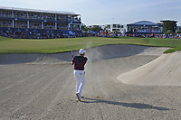 Terrell Hatton (ENG) in a bunker at the 18th green during Round 4 of the DP World Tour Championship 2017, at Jumeirah Golf Estates, Dubai, United Arab Emirates. 19/11/2017<br /> Picture: Golffile | Thos Caffrey<br /> <br /> <br /> All photo usage must carry mandatory copyright credit     (© Golffile | Thos Caffrey)