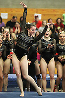 STANFORD, CA--March 1, 2013--Taylor Rice with Stanford women's Gymnastics team competes on the Floor during the competition against Cal and Oregon State University on the Stanford University Campus. Stanford won the competition .  Taylor Rice
