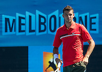 GRIGOR DIMITROV (BUL) against JEREMY CHARDY (FRA) in the First Round of the Men's Singles. Grigor Dimitrov beat Jeremy Chardy 4-6 6-3 3-6 6-4 6-4...16/01/2012, 16th January 2012, 16.01.2012..The Australian Open, Melbourne Park, Melbourne,Victoria, Australia.@AMN IMAGES, Frey, Advantage Media Network, 30, Cleveland Street, London, W1T 4JD .Tel - +44 208 947 0100..email - mfrey@advantagemedianet.com..www.amnimages.photoshelter.com.