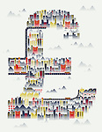Illustrative image of buildings in pound sign representing London, United Kingdom