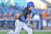 UNC Asheville Bulldogs first baseman Danny Wilson (7) runs to first during a game against the Tennessee Volunteers at McCormick Field on March 15, 2016 in Asheville, North Carolina. The Volunteers defeated the Bull Dogs 7-3. (Tony Farlow/Four Seam Images)