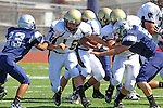 Torrance, CA 09/08/11 - Shane Scott (Peninsula #18) in action during the North-Peninsula Junior Varsity Football game at North High School in Torrance.
