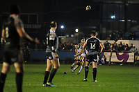 John Cooney of Ulster kicks a penalty during the Guinness Pro14 Round 15 match between the Ospreys and Ulster Rugby at Morganstone Brewery Field in Bridgend, Wales, UK. Friday 15 February 2019