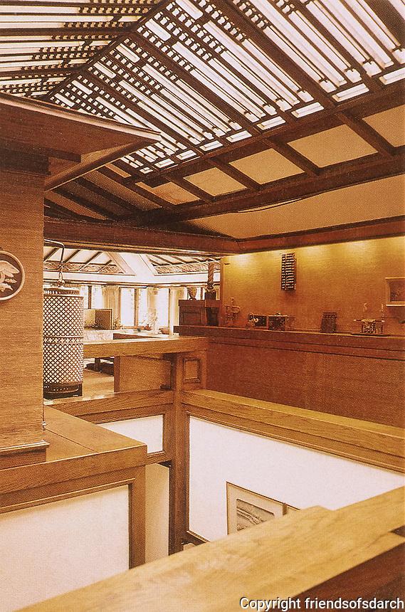 Frank Lloyd Wright: Dana House, Springfield.  Details. Prairie style. (Photo Feb.1988).