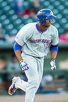 South Bend Cubs designated hitter Eloy Jimenez (27) runs to first base against the Great Lakes Loons on May 18, 2016 at Dow Diamond in Midland, Michigan. Great Lakes defeated South Bend 5-4. (Andrew Woolley/Four Seam Images)