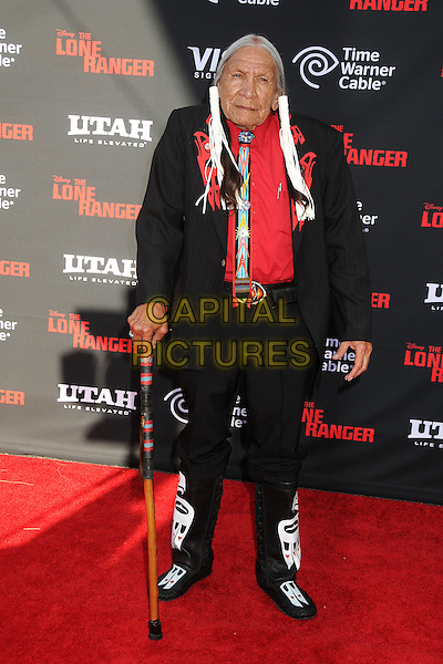 Saginaw Grant<br /> &quot;The Lone Ranger&quot; World Premiere held at Disney's California Adventure Park,  Anaheim, California, USA, 22nd June 2013.<br /> full length red bunches walking stick cane suit black <br /> CAP/ADM/BP<br /> &copy;Byron Purvis/AdMedia/Capital Picture