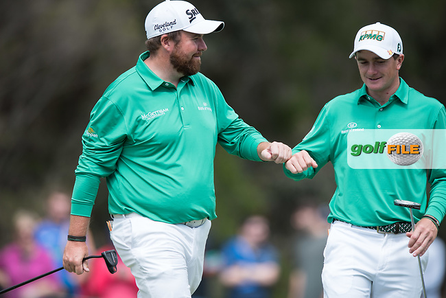 Shane Lowry (IRL) and Paul Dunne (IRL) during the final round of the World Cup of golf,  The Metropolitan Golf Club, The Metropolitan Golf Club, Victoria, Australia. 25/11/2018<br /> Picture: Golffile | Anthony Powter<br /> <br /> <br /> All photo usage must carry mandatory copyright credit (© Golffile | Anthony Powter)