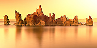 Golden Sunset of Limestone Formations at Mono Lake California