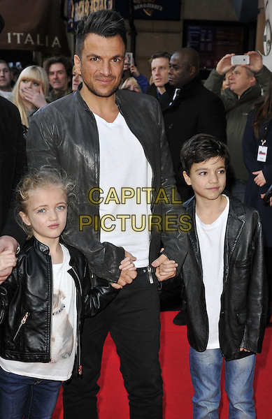 LONDON, ENGLAND - FEBRUARY 01: Princess Tiaamii Andre, Peter Andre &amp; Junior Andre attend the &quot;Mr Peabody &amp; Sherman 3D&quot; VIP gala screening, Vue West End cinema, Leicester Square, on Saturday February 01, 2014 in London, England, UK.<br /> CAP/CAN<br /> &copy;Can Nguyen/Capital Pictures