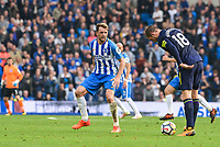 Gylfi Sigurosson of Everton (18) and Dale Stephens of Brighton & Hove Albion (6)  during the Premier League match between Brighton and Hove Albion and Everton at the American Express Community Stadium, Brighton and Hove, England on 15 October 2017. Photo by Edward Thomas / PRiME Media Images.