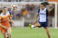 Houston, TX - Saturday July 15, 2017: Caprice Dydasco clears the ball from her side of the field during a regular season National Women's Soccer League (NWSL) match between the Houston Dash and the Washington Spirit at BBVA Compass Stadium.