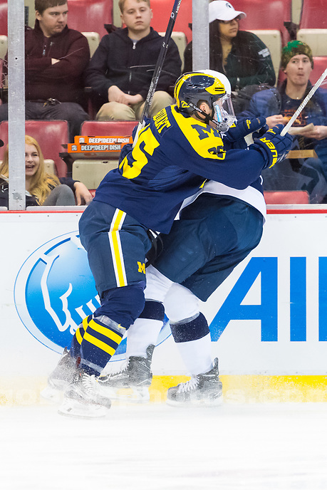 The University of Michigan ice hockey team,4-1 loss to Penn State at Big Tens at Joe Louis in Detroit, MI on March 16, 2017.