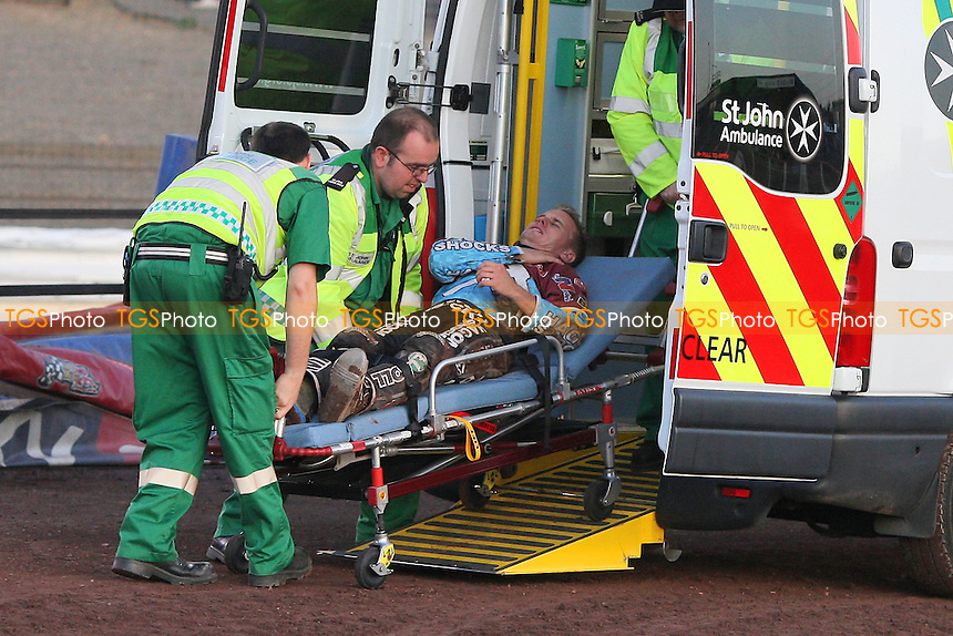 Heat 1: Lee Richardson (red) crashes out and is taken away for treatment in an ambulance - Lakeside Hammers vs Coventry Bees - Sky Sports Elite League Speedway at Arena Essex Raceway, Purfleet - 22//08/09 - MANDATORY CREDIT: Gavin Ellis/TGSPHOTO - Self billing applies where appropriate - Tel: 0845 094 6026