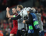 Jordan Henderson of Liverpool with Liverpool manager Jurgen Klopp during the Champions League Semi Final 1st Leg match at Anfield Stadium, Liverpool. Picture date: 24th April 2018. Picture credit should read: Simon Bellis/Sportimage