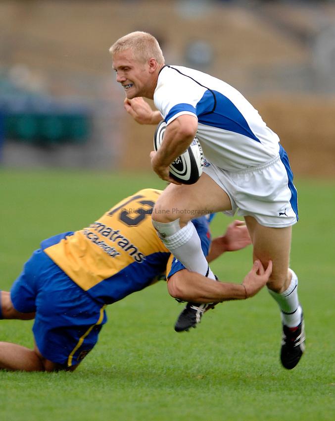 Photo: Richard Lane..Bath Rugby v Parma. Pre Season Friendly. 16/08/2006. .Bath's Michael Stephenson attacks.