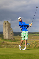 Ryan O'Doherty (Rush) on the 13th tee during Round 2 of The South of Ireland in Lahinch Golf Club on Sunday 27th July 2014.<br /> Picture:  Thos Caffrey / www.golffile.ie