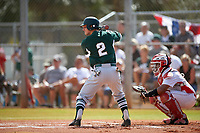 Michigan State Spartans designated hitter Marty Bechina (2) at bat in front of catcher Jean Ramirez during a game against the Illinois State Redbirds on March 8, 2016 at North Charlotte Regional Park in Port Charlotte, Florida.  Michigan State defeated Illinois State 15-0.  (Mike Janes/Four Seam Images)