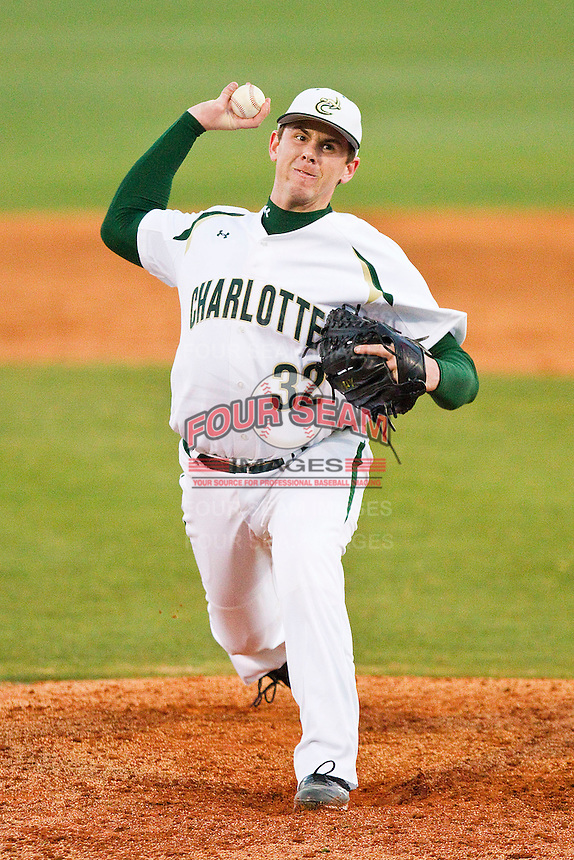 Relief pitcher Bryan Hamilton #32 of the Charlotte 49ers in action against the Missouri Tigers at Robert and Mariam Hayes Stadium on February 25, 2011 in Charlotte, North Carolina.  Photo by Brian Westerholt / Four Seam Images