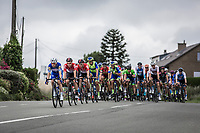 Dries Devenyns (BEL/Quick Step Floors) leading the chase in the peloton. <br /> <br /> <br /> 71th Halle Ingooigem 2018 (1.1)<br /> 1 Day Race: Halle &gt; Ingooigem (197.7km)