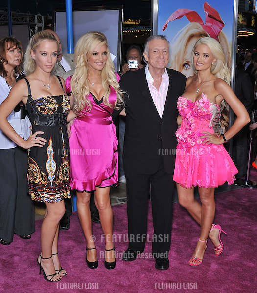 "Hugh Hefner & playmates at the Los Angeles premiere of his new movie ""The House Bunny"" at Mann Village Theatre, Westwood..August 20, 2008  Los Angeles, CA.Picture: Paul Smith / Featureflash"