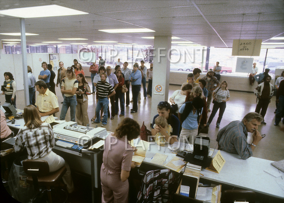 Detroit, Michigan, U.S.A, September, 1980. Unemployment office near Detroit.