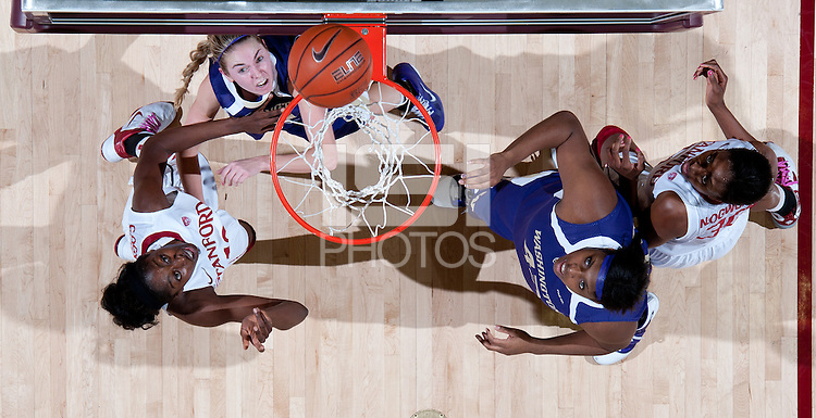 STANFORD, CA - February 12, 2011: Chiney Ogwumike and Nnemkadi Ogwumike of the Stanford Cardinal women's basketball team box out during Stanford's 62-52 win over Washington at Maples Pavilion.