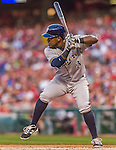 22 August 2015: Milwaukee Brewers infielder Elian Herrera in action against the Washington Nationals at Nationals Park in Washington, DC. The Nationals defeated the Brewers 6-1 in the second game of their 3-game weekend series. Mandatory Credit: Ed Wolfstein Photo *** RAW (NEF) Image File Available ***