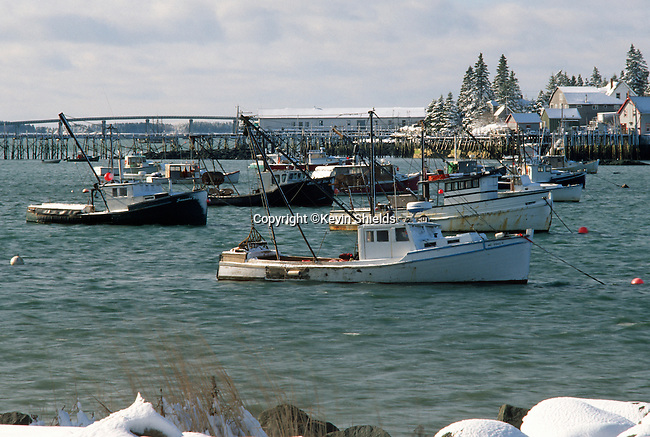 Winter harbor scene,  Jonesport, Washington County, Maine, USA
