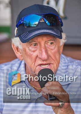 22 August 2015: Milwaukee Brewers radio broadcaster Bob Uecker works pre-game in the dugout prior to a game against the Washington Nationals at Nationals Park in Washington, DC. The Nationals defeated the Brewers 6-1 in the second game of their 3-game weekend series. Mandatory Credit: Ed Wolfstein Photo *** RAW (NEF) Image File Available ***