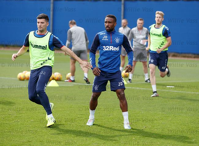 28.08.2019 Rangers training: Jordan Jones and Jermain Defoe