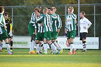 VOETBAL: JOURE: 09-11-2014, Sportpark de Hege Simmerdyk, SC Joure - VV Bergum, uitslag 3-1, Sjoerd Jellema scoorde met het derde doelpunt voor SC Joure, ©foto Martin de Jong