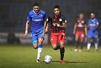 Blackburn Rovers' Dominic Samuel and Gillingham's Bradley Garmston in action during todays match<br /> <br /> Photographer Rachel Holborn/CameraSport<br /> <br /> The EFL Sky Bet League One - Gillingham v Blackburn Rovers - Tuesday 10th April 2018 - Priestfield Stadium - Gillingham<br /> <br /> World Copyright &copy; 2018 CameraSport. All rights reserved. 43 Linden Ave. Countesthorpe. Leicester. England. LE8 5PG - Tel: +44 (0) 116 277 4147 - admin@camerasport.com - www.camerasport.com
