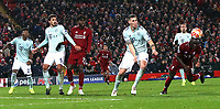 Liverpool's Sadio Mane with a late stooping headed effort on goal<br /> <br /> Photographer Rich Linley/CameraSport<br /> <br /> UEFA Champions League Round of 16 First Leg - Liverpool and Bayern Munich - Tuesday 19th February 2019 - Anfield - Liverpool<br />  <br /> World Copyright © 2018 CameraSport. All rights reserved. 43 Linden Ave. Countesthorpe. Leicester. England. LE8 5PG - Tel: +44 (0) 116 277 4147 - admin@camerasport.com - www.camerasport.com