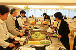 Cafeteria for Pasona employees. Vegetables and salad incude produce harvested from the Pasona building itself<br />
