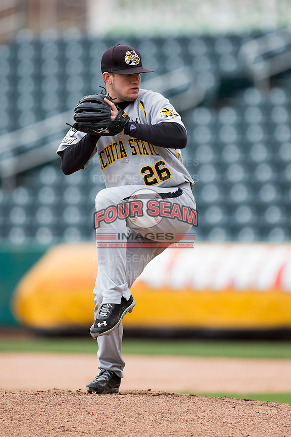 Garrett Brummett #26 of the Wichita State Shockers winds up during a game against the Missouri State Bears at Hammons Field on May 5, 2013 in Springfield, Missouri. (David Welker/Four Seam Images)