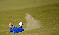 Alvaro Quiros of Spain hits from a bunker during Round 1 of the 2015 Alfred Dunhill Links Championship at the Old Course, St Andrews, in Fife, Scotland on 1/10/15.<br /> Picture: Richard Martin-Roberts | Golffile