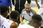 Desert Pines head coach talks to the team during a time out in the NIAA 3A state basketball championship game against Cheyenne in Reno, Nev., on Saturday, Feb. 24, 2018. Desert Pines won 48-44 in overtime. Cathleen Allison/Las Vegas Review-Journal