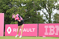 Paula Creamer (USA) tees off the 5th tee during Friday's Round 2 of The Evian Championship 2018, held at the Evian Resort Golf Club, Evian-les-Bains, France. 14th September 2018.<br /> Picture: Eoin Clarke | Golffile<br /> <br /> <br /> All photos usage must carry mandatory copyright credit (&copy; Golffile | Eoin Clarke)
