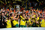 The Hague, Netherlands, June 15: The team of Australia holds up the World Cup Trophy after beating the team of The Netherlands 6-1 (2-1) in the gold match on June 15, 2014 during the World Cup 2014 at Kyocera Stadium in The Hague, Netherlands. (Photo by Dirk Markgraf / www.265-images.com) *** Local caption ***