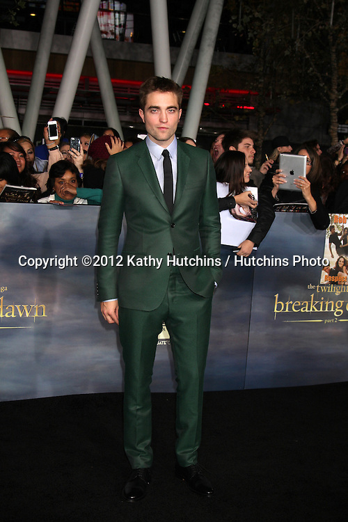 """LOS ANGELES - NOV 12:  Robert Pattinson arrive to the 'The Twilight Saga: Breaking Dawn - Part 2"""" Premiere at Nokia Theater on November 12, 2012 in Los Angeles, CA"""