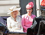 17.06.2017, London; UK: TROOPING THE COLOUR 2017 - KATE MIDDLETON AND CAMILLA<br /> Queen Elizabeth and members of the Royal Family attend Trooping the Colour, that marks the Queen Elizabeth&rsquo;s Official Birthday.<br /> Mandatory Credit Photo: &copy;MoD/NEWSPIX INTERNATIONAL<br /> <br /> IMMEDIATE CONFIRMATION OF USAGE REQUIRED:<br /> Newspix International, 31 Chinnery Hill, Bishop's Stortford, ENGLAND CM23 3PS<br /> Tel:+441279 324672  ; Fax: +441279656877<br /> Mobile:  07775681153<br /> e-mail: info@newspixinternational.co.uk<br /> *All fees payable to Newspix International*