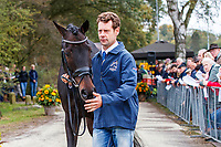 AUS-Christopher Burton presents Clever Louis during the First Horse Inspection for the CCIO4*-L FEI Nations Cup Eventing. 2019 Military Boekelo-Enschede International Horse Trials. Wednesday 9 October. Copyright Photo: Libby Law Photography.