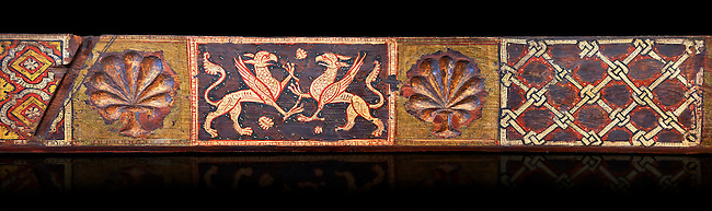 Gothic decorative painted beam panels with griffins and a carved syalise tree, Tempera on wood. National Museum of Catalan Art (MNAC), Barcelona, Spain