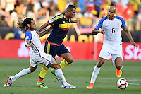 United States midfielder Jermaine Jones (13) and Colombia midfielder Edwin Cardona (8) battle for the ball during Copa America Centenario match, in Santa Clara, CA. Friday, Jun 03, 2016. Colombia won 2-0. (TFV Media via AP) *Mandatory Credit*