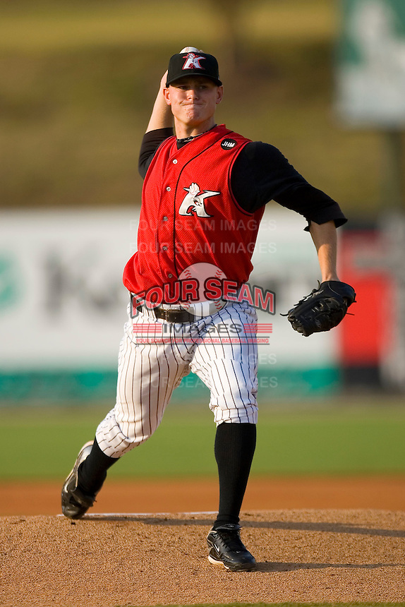 Starting pitcher J.R. Ballinger #28 of the Kannapolis Intimidators in action versus the Lakewood BlueClaws at Fieldcrest Cannon Stadium July 10, 2009 in Kannapolis, North Carolina. (Photo by Brian Westerholt / Four Seam Images)