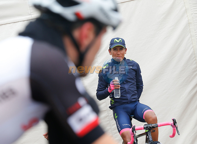 Nairo Quintana (COL) Movistar Team Maglia Rosa and Tom Dumoulin (NED) Team Sunweb warm down after Stage 20 of the 100th edition of the Giro d'Italia 2017, running 190km from Pordenone to Asiago, Italy. 27th May 2017.<br /> Picture: LaPresse/Simone Spada | Cyclefile<br /> <br /> <br /> All photos usage must carry mandatory copyright credit (&copy; Cyclefile | LaPresse/Simone Spada)