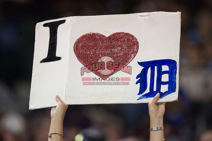 A fan shows her love for the Detroit Tigers at Comerica Park April 27, 2009 in Detroit, Michigan.  Photo by Brian Westerholt / Four Seam Images